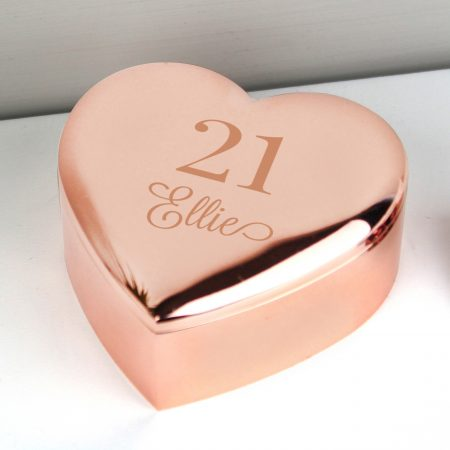 Personalised 16th Big Age Rose Gold Heart Trinket Box