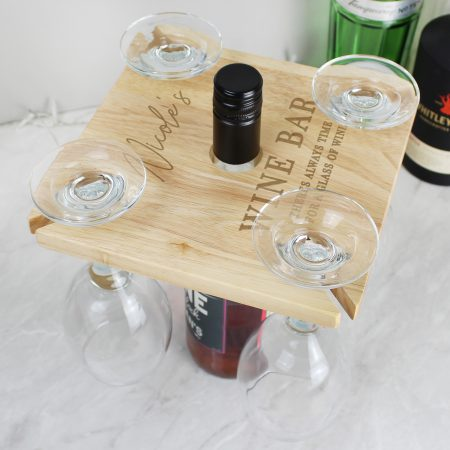 Personalised Free Text Four Wine Glass Holder & Bottle Holder