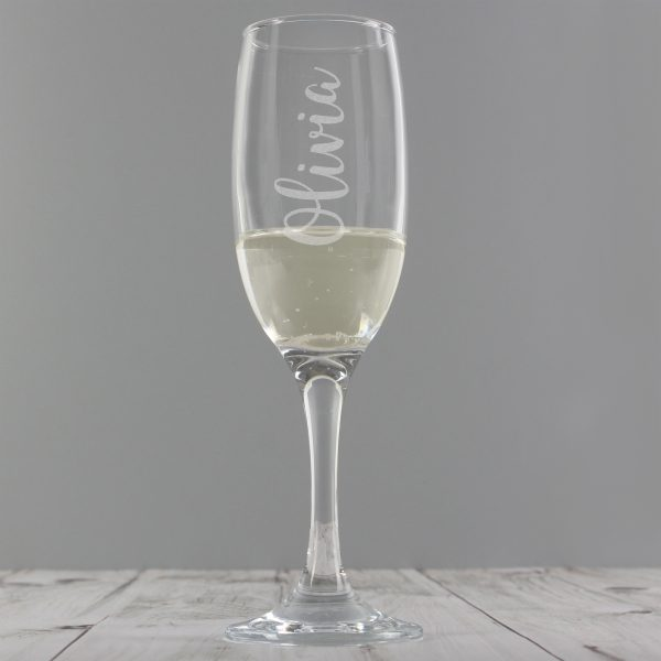 Personalised Name Only Engraved Flute Glass