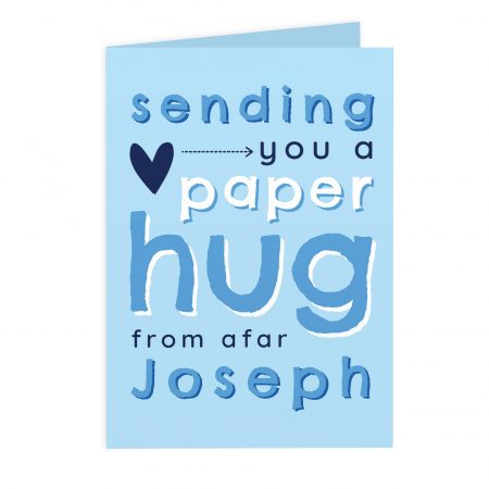 Personalised Blue I Miss You Hug From Afar Card