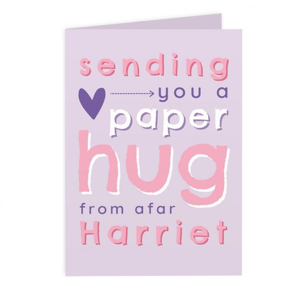 Personalised I Miss You Pink Hug From Afar Card
