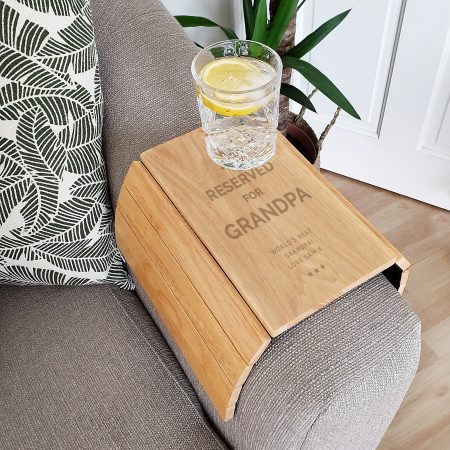 Personalised Grandad Reserved For Wooden Sofa Tray
