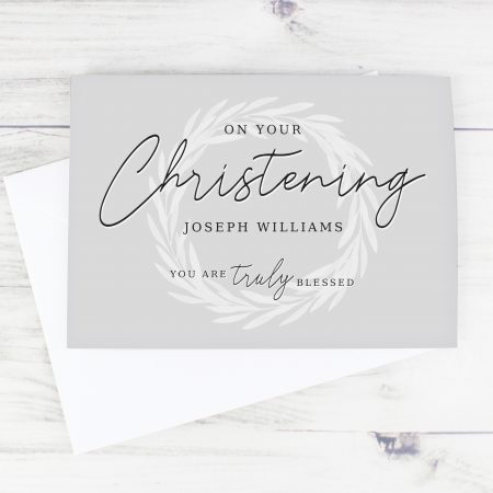 Personalised 'Truly Blessed' Christening Card