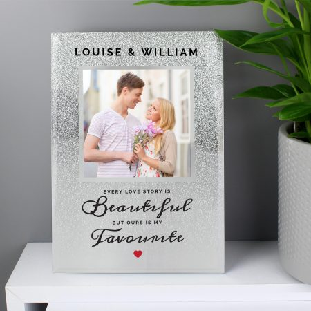 Personalised Every Love Story Is Beautiful 4x4 Romantic Glitter Glass Photo Frame