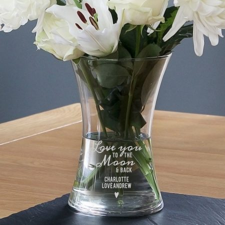 Personalised Love You To The Moon and Back Glass Vase