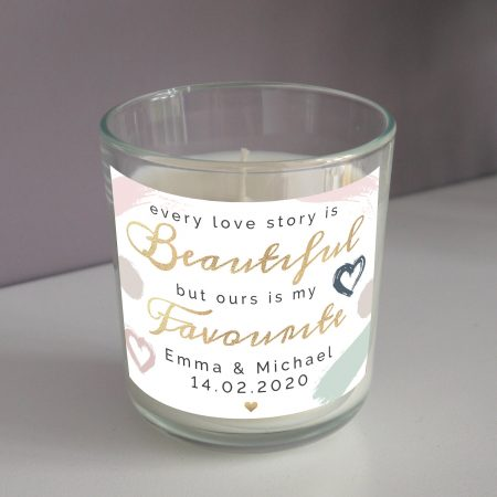 Personalised Every Love Story Is Beautiful Romantic Scented Jar Candle