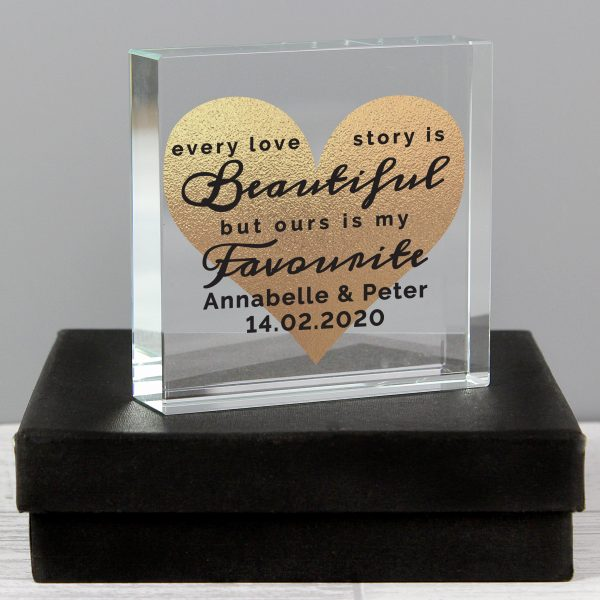 Personalised Every Love Story Is Beautiful Romantic Large Crystal Token