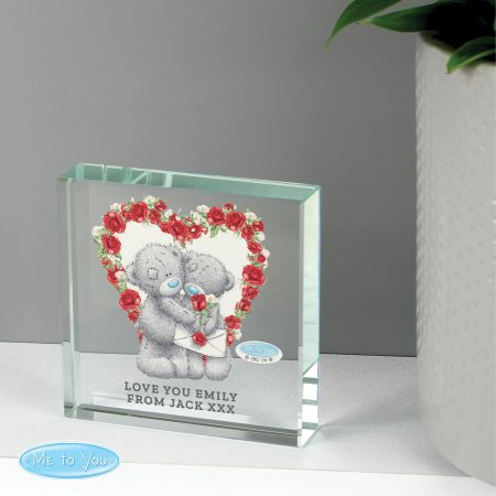 Personalised Me to You Valentine Large Crystal Token Ornament