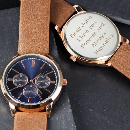 Personalised Grandad Rose Gold Tone Watch with Brown Strap and Presentation Box