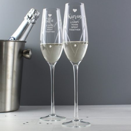Personalised Hand Cut Heart Celebration Pair of Flute Glasses with Swarovski Elements in Gift Box