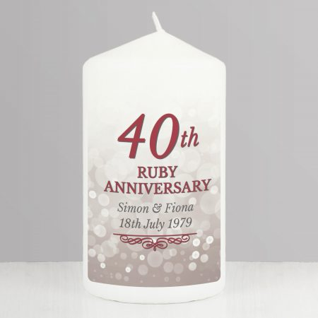 Personalised 40th Ruby Anniversary Pillar Candle