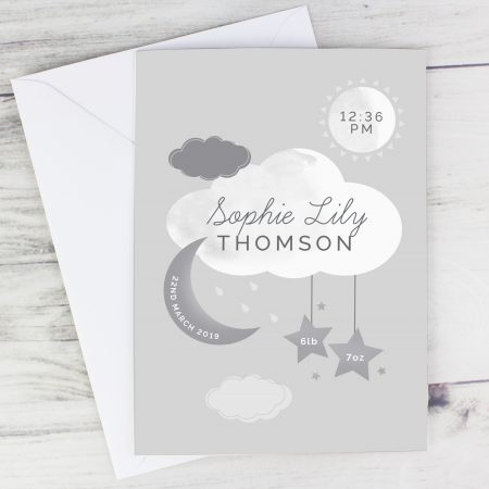 Personalised New Baby Moon & Stars Christening Naming Day Card