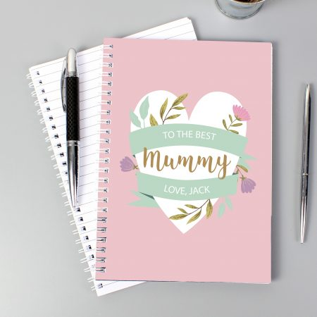 Personalised Floral Heart A5 Stationery Notebook