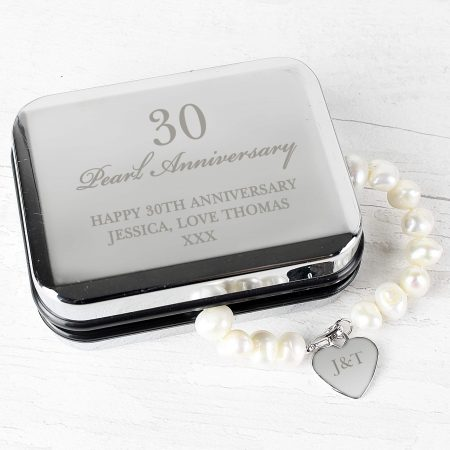 Personalised Anniversary Silver Jewellery Box and Pearl Bracelet