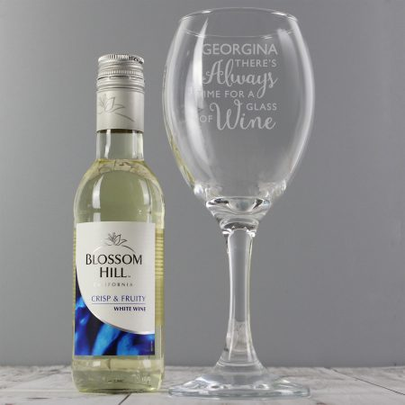 Personalised Grandad White Wine & 'Always Time for Wine' Glass Set