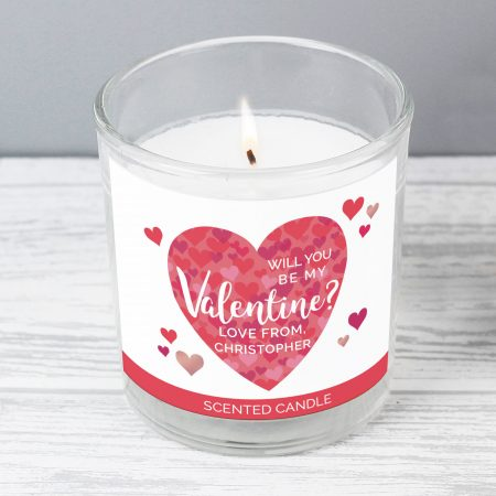 Personalised Valentine's Day Confetti Romantic Hearts Scented Jar Candle