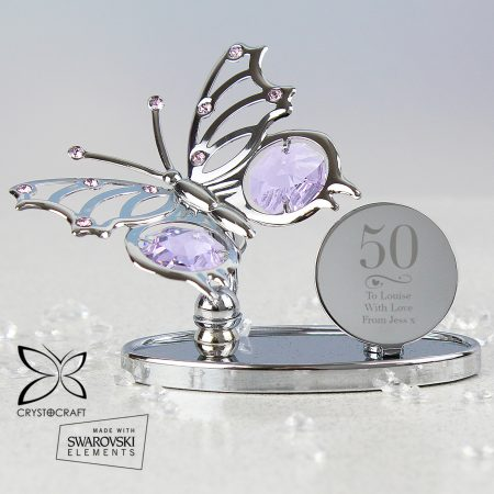 Personalised Swirls & Hearts 16th Birthday Crystocraft Butterfly
