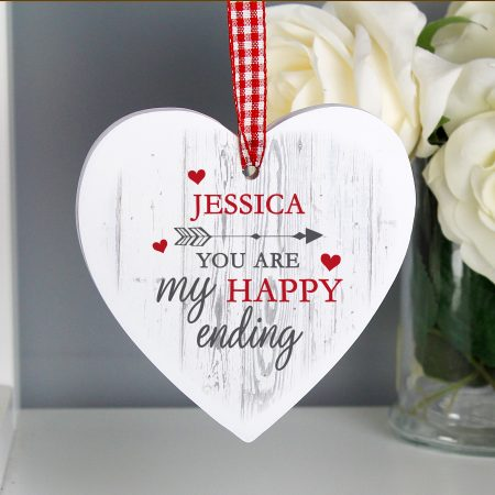 Personalised My Happy Ending Wooden Romantic Heart Decoration