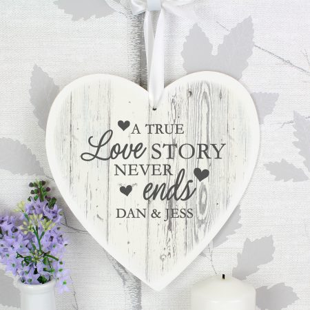 Personalised Love Story Large Wooden Romantic Heart Decoration