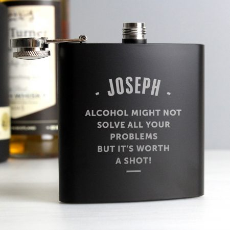 Personalised Barware Any Message Black Hip Flask