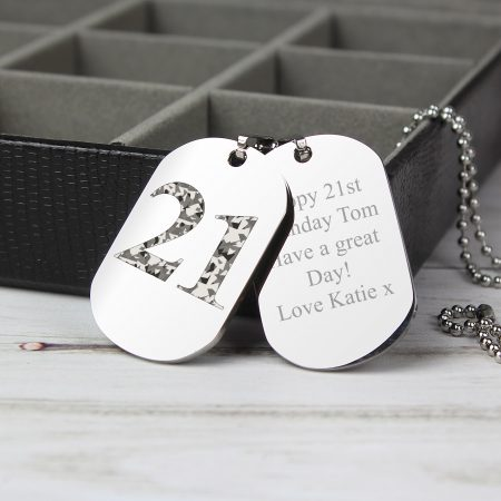 Personalised Camouflage 16th Age Stainless Steel Double Dog Tag Necklace