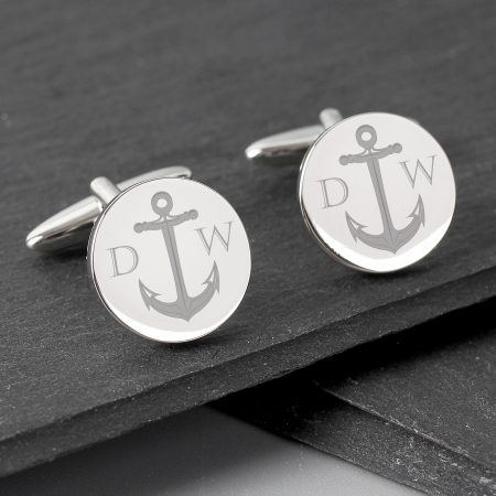 Personalised Anchor Round Cufflinks for Best Man & Ushers