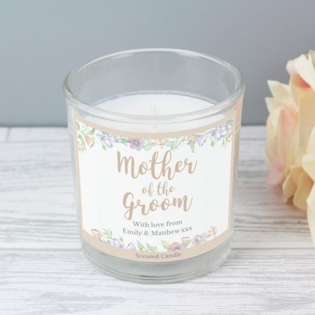 Personalised Mother of the Groom 'Floral Watercolour Wedding' Scented Jar Candle