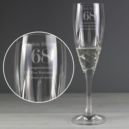 Personalised Big Age Cut Crystal Champagne Flute Glass
