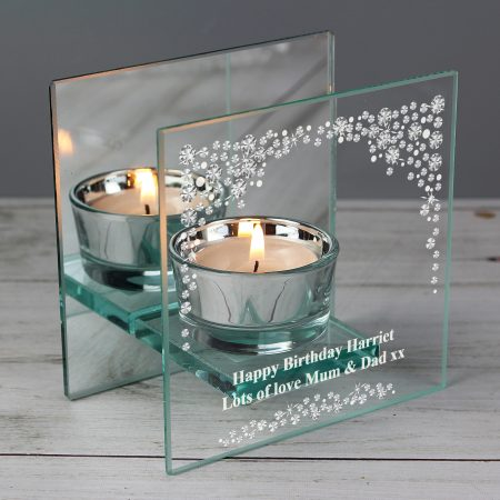 Personalised Diamante Mirrored Glass Tea Light Candle Holder