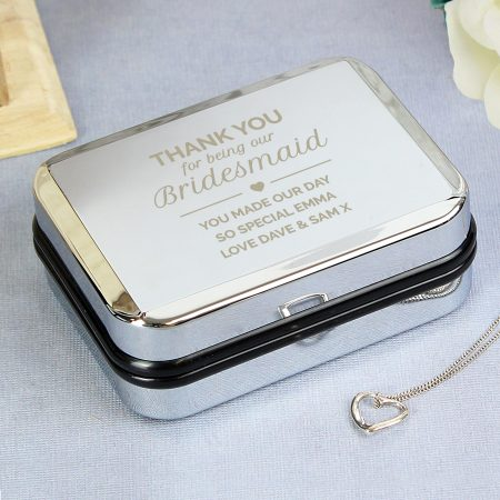 Personalised Bridesmaid Jewellery Box and Heart Necklace