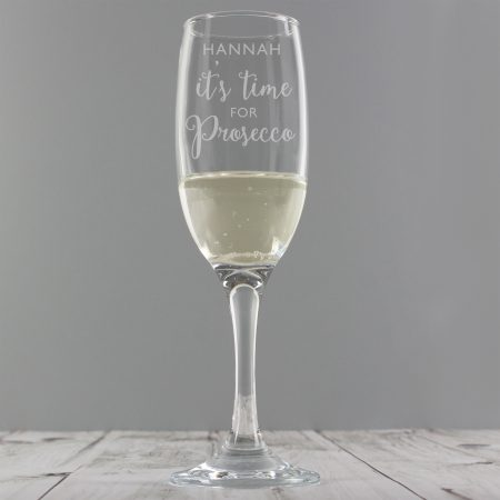 Personalised 'It's Time for Prosecco' Flute Glass