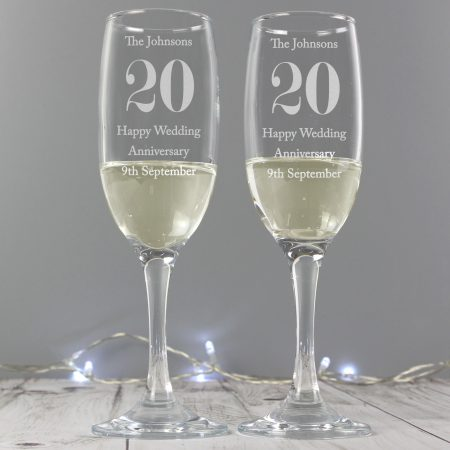 Personalised Anniversary Pair of Flute Glasses with Gift Box