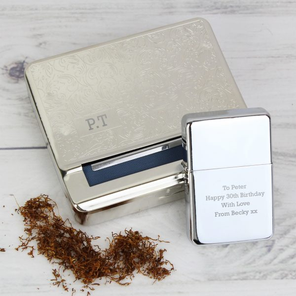 Personalised Grandad Tobacco Rolling Tin and Silver Lighter Set