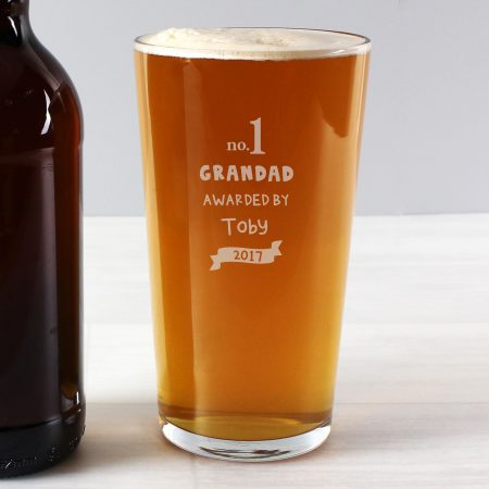 Personalised no.1 Grandad Awarded By Pint Glass