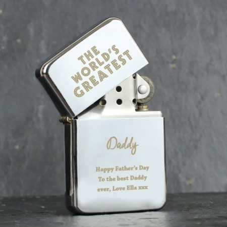 Personalised 'The World's Greatest' Grandad Silver Lighter