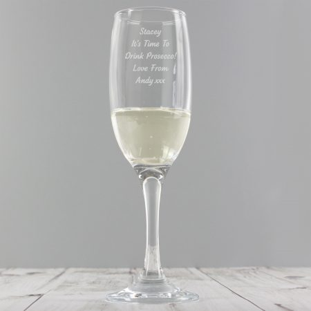 Personalised Any Message Prosecco Flute Glass