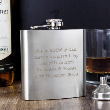 Personalised Any Message Stainless Steel Grandad Hip Flask