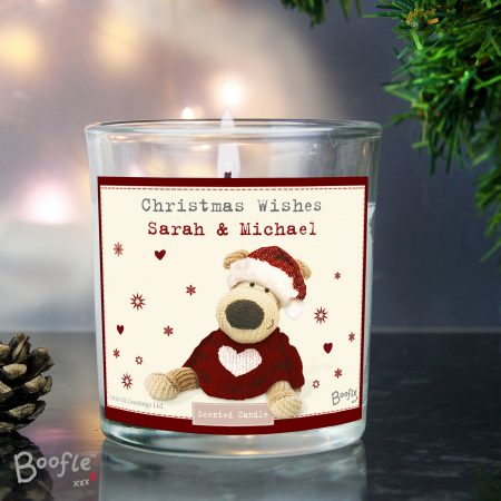 Personalised Boofle Christmas Love Scented Jar Candle