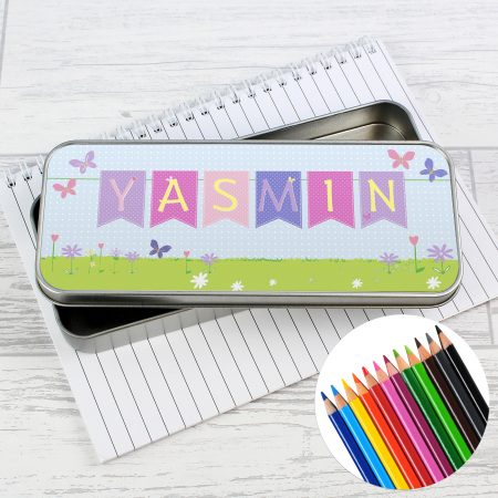 Personalised Garden Bunting Pencil Tin with Coloring Pencils