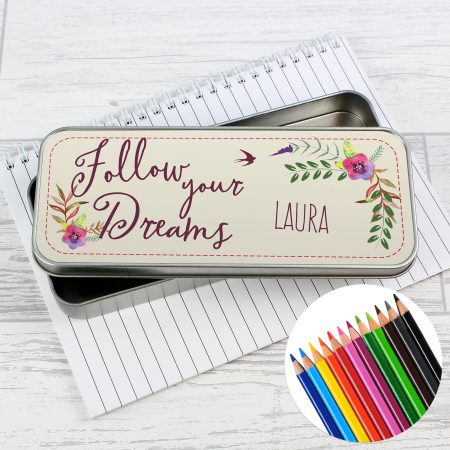 Personalised Dreams Pencil Tin with Coloring Pencils