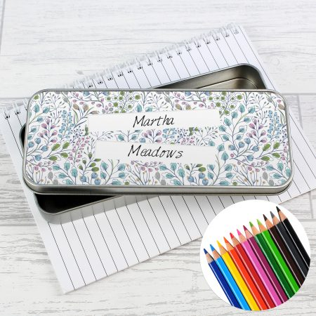Personalised Botanical Pencil Tin with Coloring Pencils
