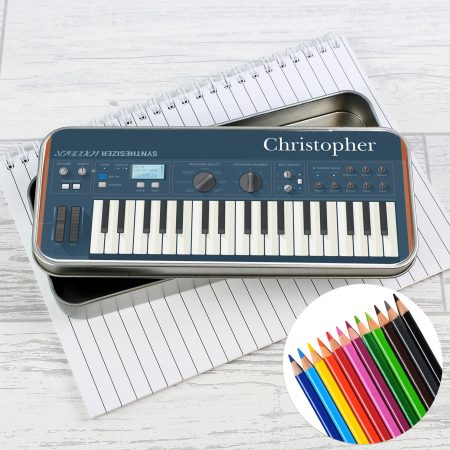 Personalised Keyboard Pencil Tin with Coloring Pencils