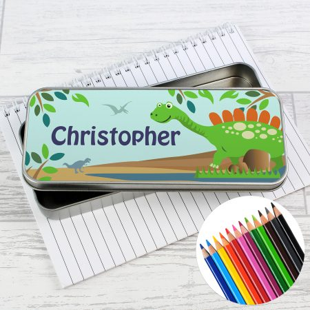 Personalised Dinosaur Pencil Tin with Coloring Pencils