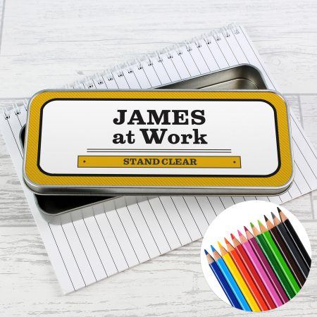 Personalised Man at Work Pencil Tin with Coloring Pencils