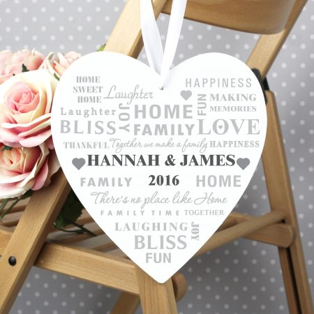 Personalised Family Typography Large Wooden Heart Decoration for Grandad