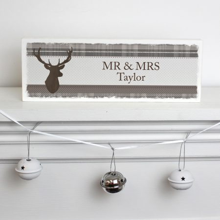 Personalised Grandad Highland Stag Wooden Block Sign