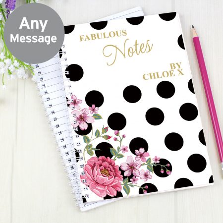 Personalised Floral Dot A5 Stationery Notebook
