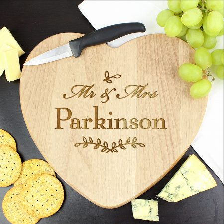 Personalised Mr and Mrs Leaf Romantic Heart Chopping Board