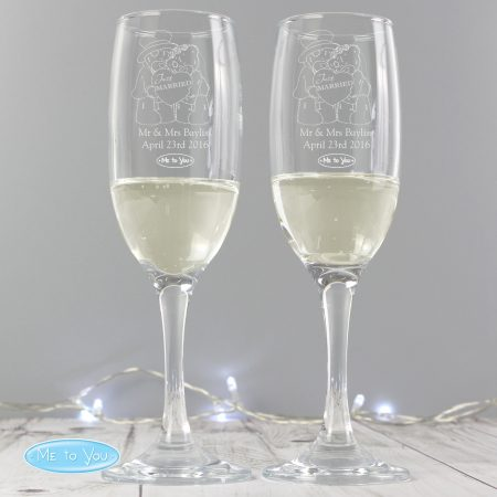 Personalised Me To You Engraved Wedding Pair of Flute Glasses with Gift Box