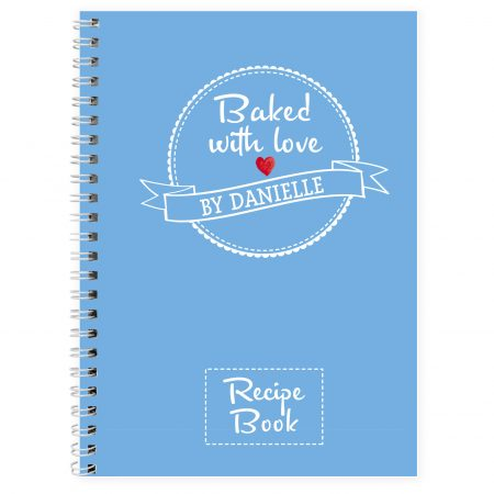 Personalised Baked With Love Recipes A5 Notebook Stationery